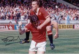 Autographed Stuart Pearson 12 X 8 Photo Col, Depicting The Man United Centre Forward Celebrating His