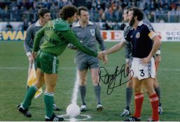 Autographed Danny McGrain 12 X 8 Photo Col, Depicting The Scotland Captain Shaking Hands With His