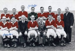 Autographed Man United 12 X 8 Photo Colorised, Depicting Man United's 1948 Fa Cup Final Team
