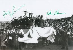 Autographed Celtic 12 X 8 Photo B/W, Depicting Celtic Players Parading The European Cup Around