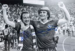 Autographed Nottm Forest 12 X 8 Photo B/W, Depicting Frank Clark And Larry Lloyd Arm In Arm As