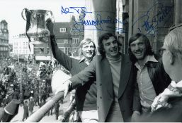 Autographed West Ham United 12 X 8 Photo B/W, Depicting Alan Taylor, Trevor Brooking And Billy Bonds