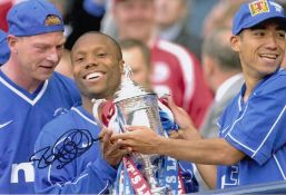Autographed Rod Wallace 12 X 8 Photo Col, Depicting The Rangers Striker Celebrating With The