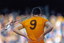 Autographed Steve Bull 12 X 8 Photo Col, Depicting A Superb Image Of The Wolves Striker, His Back