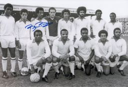 Autographed Brendon Batson 12 X 8 Photo B/W, Depicting An Iconic Image Showing The Cyrille Regis
