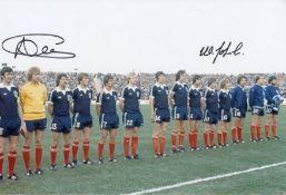Autographed Scotland 12 X 8 Photo Col, Depicting Scottish Players Lining Up Shoulder To Shoulder