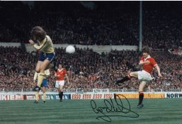 Autographed Gordon Hill 12 X 8 Photo Col, Depicting The Man United Winger Shooting At The