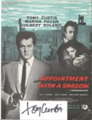 Tony Curtis (1925 2010) Actor Signed Card With Appointment With A Shadow Picture. Good condition.