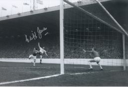 Autographed Cliff Jones 12 X 8 Photo B/W, Depicting The Tottenham Winger Scoring His Side's Second