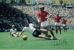 Autographed Colin Bell 12 X 8 Photo Col, Depicting The England Winger At Full Pace With The Ball