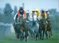 Lester Piggott Signed 16 x 12 inch horse racing photo. Good condition. All autographs come with a