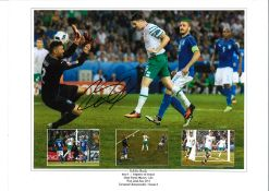 Robbie Brady Italy goal Ireland Signed 16 x 12 inch football photo. Good condition. All autographs