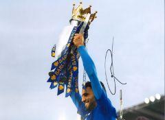 Riyad Mahrez Leicester City Signed 16 x 12 inch football photo. Good condition. All autographs