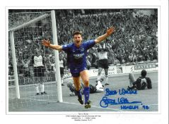 Steve Walsh Collage Wembley Leicester City Signed 16 x 12 inch football photo. Good condition. All