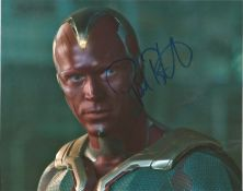 Paul Bettany signed 10x8 colour photo pictured in his role as Vision from Marvel film franchise.