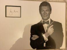 007 James Bond Roger Moore signed display