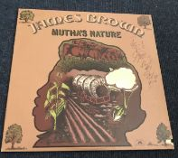 James Brown signed 33 rpm record sleeve, with record for Muthas Nature