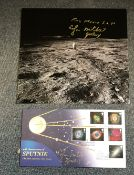 Apollo 14 Moonwalker Dr Ed Mitchell signed photo and First Day cover.