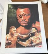 Boxing Joe Frazier and Leon Evans signed print