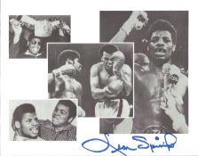 Boxing Leon Spinks signed 10 x 8 inch b/w montage photo