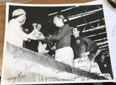 Bobby Moore multiple signed World Cup football photo