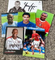 Football collection 6 signed 6x4 assorted photos includes Sylvain Distin, Luis Boa Morte, Tim