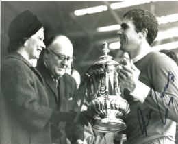 Football Ron Yeats signed 10x8 black and white photo pictured receiving the FA Cup while captain