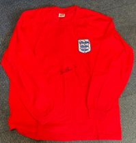 Football Bobby Charlton signed England 1966 retro shirt. Good condition. All autographs come with