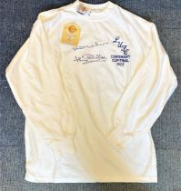 Football Jack Charlton signed Leeds United Centenary Cup Final 1972 retro shirt. Good condition. All