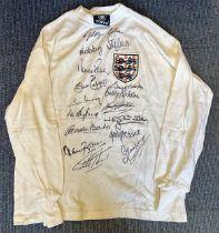 Football England Legends multi signed Retro England shirt 15 fantastic signatures includes George