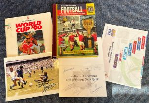 Football collection 5 interesting items includes 1966 World Cup Christmas card signed by Gordon