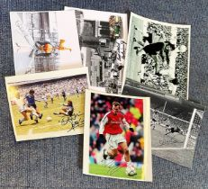 Football collection 6 signed assorted items includes some great names such as Jim Montgomery, Martin