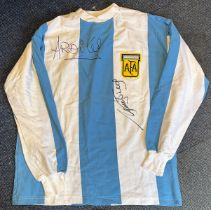 Football Ossie Ardiles and Rick Villa signed Argentina retro home shirt. Good condition. All