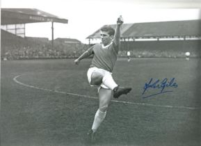 Football Johnny Giles signed 12x8 black and white photo pictured while playing for Manchester United