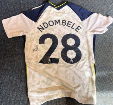 Football Tanguy Ndombele signed Tottenham Hotspur home shirt. Size medium. Tanguy Ndombele Alvaro (