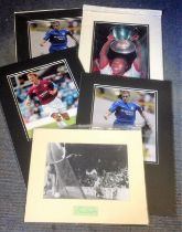 Football collection 5 mounted signature pieces includes 2, Joe Cole, Teddy Sheringham, Marcel