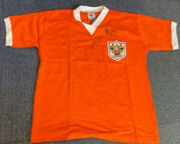 Football Jimmy Armfield and Alan Ball signed Blackpool retro shirt. Good condition. All autographs