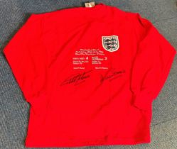 Football Geoff Hurst and Martin Peters signed England retro 1966 World Cup Final commemorative