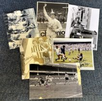 Football collection 6 signed assorted photos includes some great names such as Peter Shilton,