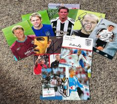 Football collection 8 signed 6x4 assorted photos some great names includes Michael Owen, Alan