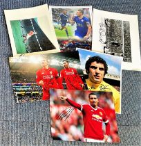 Football collection 6 signed assorted photos some great signatures includes Peter Shilton, Denis