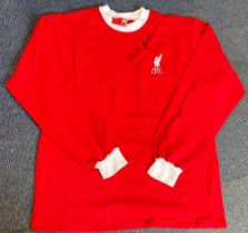 Football Ian St John signed Liverpool F. C retro home shirt. Good condition. All autographs come