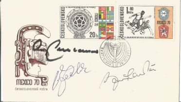 Football Mexico 70 FDC signed by World Cup Legends Bobby Charlton and Franz Beckenbauer and Uwe