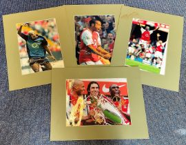 Arsenal Collection 4, 14x11 mounted signed colour photos includes 2, Sylvain Wiltord , Thierry Henry