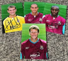 West Ham Football collection 4 signed 6x4 colour photo includes Teddy Sheringham, Nigel Reo Coker,