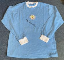 Football Mike Summerbee signed Manchester City retro home shirt. Good condition. All autographs come