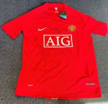 Football Paul Scholes signed Manchester United replica home shirt. Size medium. Good condition.