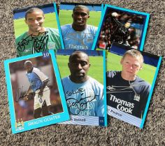 Manchester City collection 6 signed 6x4 colour photos includes Shaun Goater, Darius Vassell,