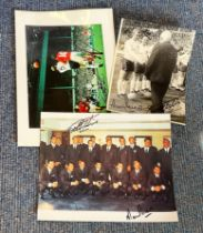 1966 World Cup Collection 3 signed assorted photos all double signed by England Heroes Geoff Hurst