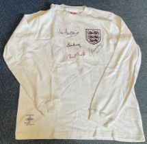 Football England Legends multi signed Retro England shirt signatures included are Jimmy Armfield,